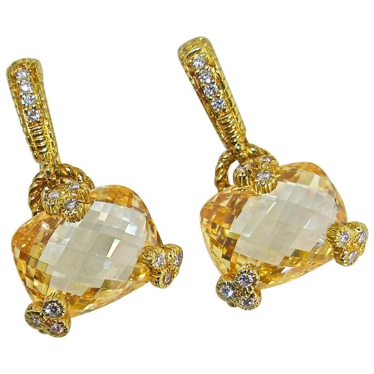 Judith Ripka 18 Karat, Diamond and Citrine Earrings
