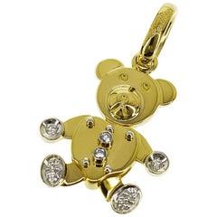 Pomellato Bear Diamond Pendant Top 18 Karat Yellow Gold White Gold Charm
