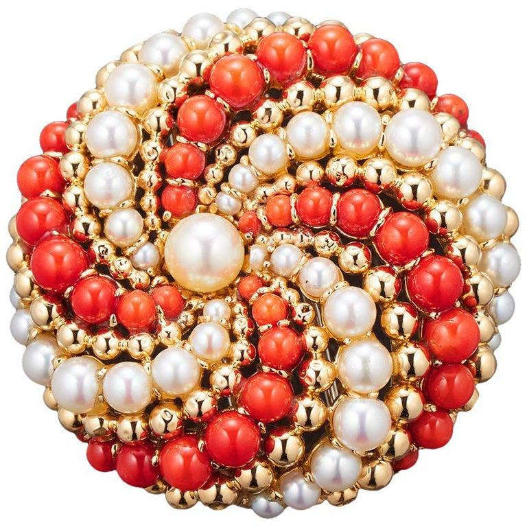 Van Cleef & Arpels 1960s Brooch-Pendant Coral, Pearls and 18 Karat Gold