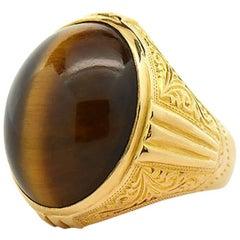 Large Men's Tiger Eye Ring, 21 Karat Yellow Gold with Victorian Engraving