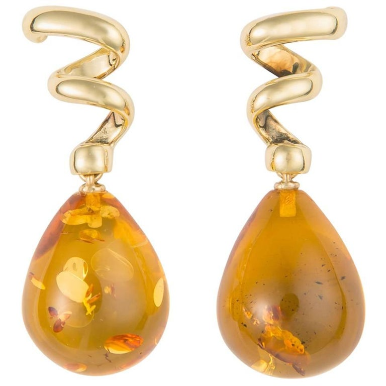 Tiffany & Co. Gold and Amber Drop Earrings