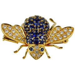 Vintage 3.0 Carat Untreated Sapphire .80 Carat Diamond Bumble Bee Brooch