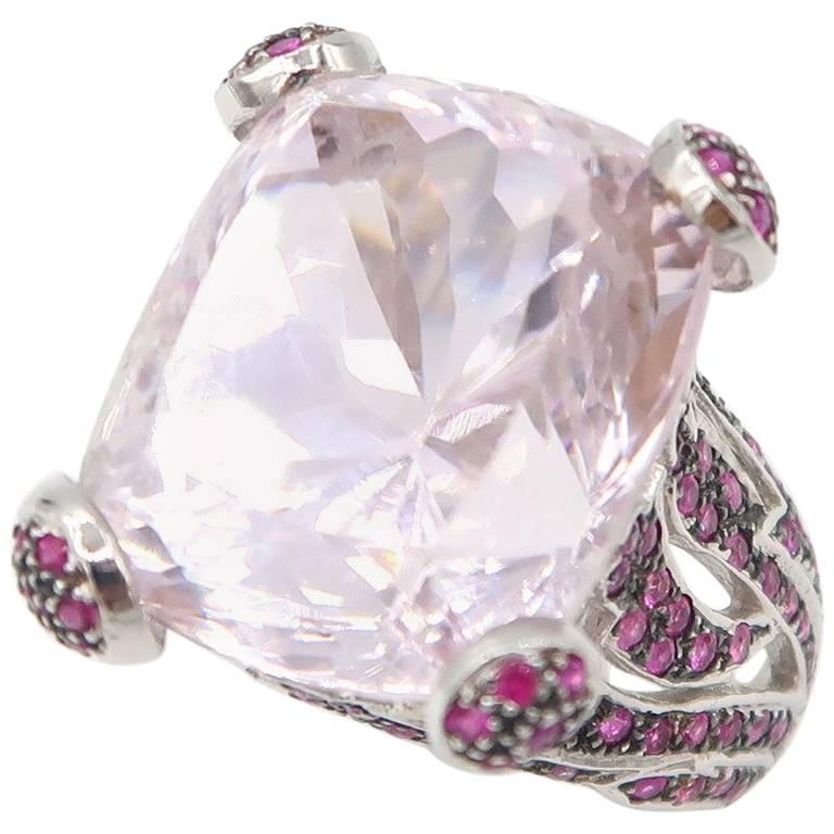 14.01 Carat Cushion Cut Kunzite and Pink Sapphire White Gold Cocktail Ring