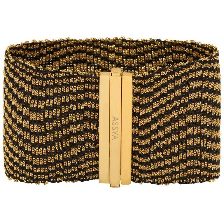 Gold Vermeil and Black Silk Woven Cuff Bracelet
