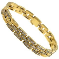 Cartier Maillon Panthere Diamond 18 Karat Yellow Gold Link Bracelet