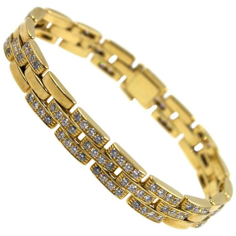 Cartier Maillon Panthere Diamond 18 Karat Yellow Gold Link Bracelet