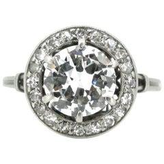 Brilliant Cut Diamond Art Deco French Platinum Ring