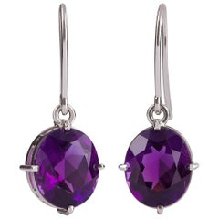 18 Carat White Gold 8.33 Carat Oval Amethyst Dangle Drop Earrings