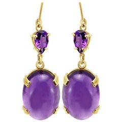 18 Carat Yellow Gold Cabochon Cut Oval Amethyst Dangle Drop Earrings