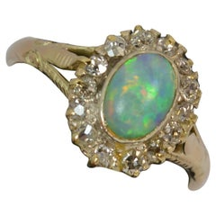 Victorian Opal and Old Cut Diamond 18 Carat Gold Cluster Ring