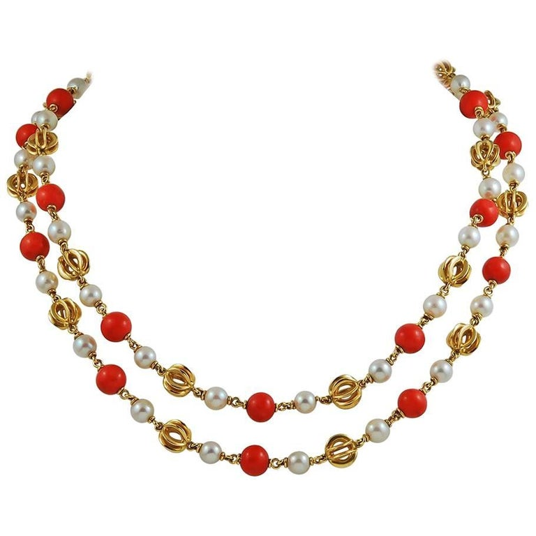 Cartier Pearl and Coral Beads Long Necklace