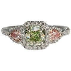 Natural Green and Pink Diamond Ring