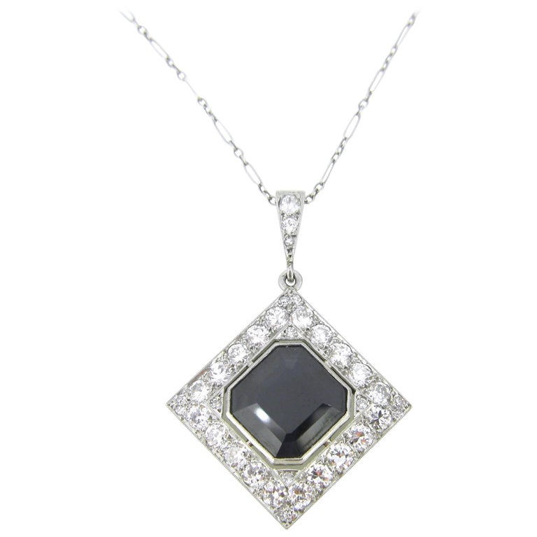 Sapphire and Diamonds Art Deco French Pendant Necklace For Sale