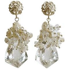 Rock Crystal Seed Pearl Keshi Pearl Bridal Earrings
