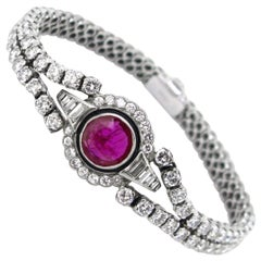 Round Ruby Brilliant Tappers Diamonds French Riviere Bangle Bracelet