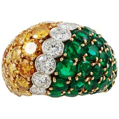 Van Cleef & Arpels Yellow and White Diamond, Emerald Dome Ring