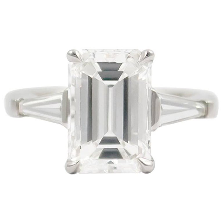 J. Birnbach GIA Certified 3.01 Carat F SI1 Emerald Cut Diamond Ring