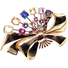 Vintage Raymond Yard Multi-Color Sapphire Yellow Gold Pin Brooch