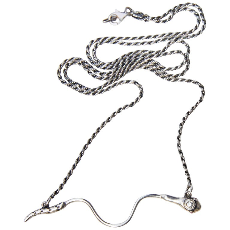 White Diamond Ruby Snake Necklace in Silver