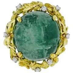 1950s 18 Karat Gold Diamond Emerald Cabachon Cocktail Ring