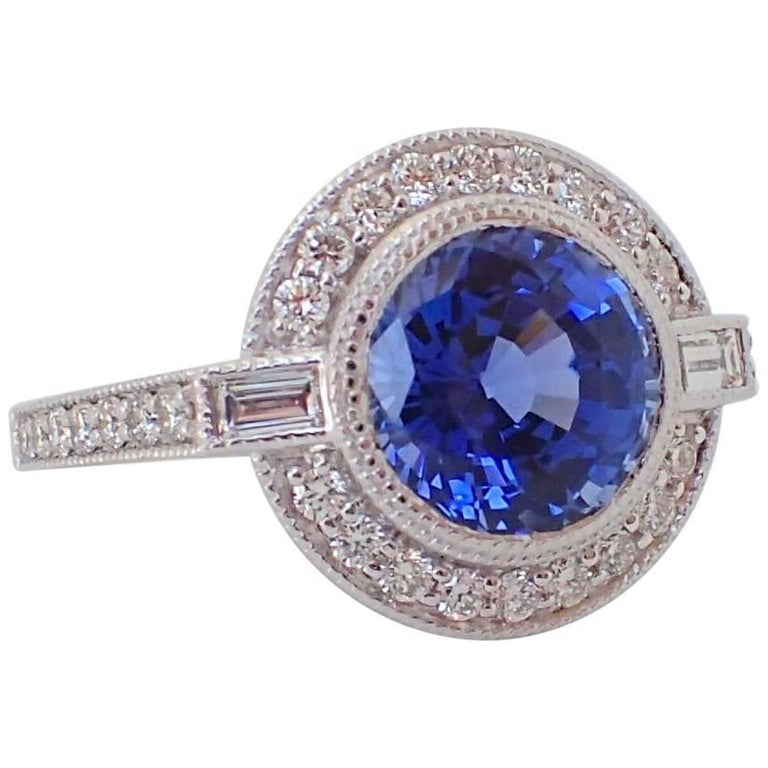 18 Karat Gold Ring, 3.75 Carat Chatham-Created Sapphire, 0.65 Carat of Diamond