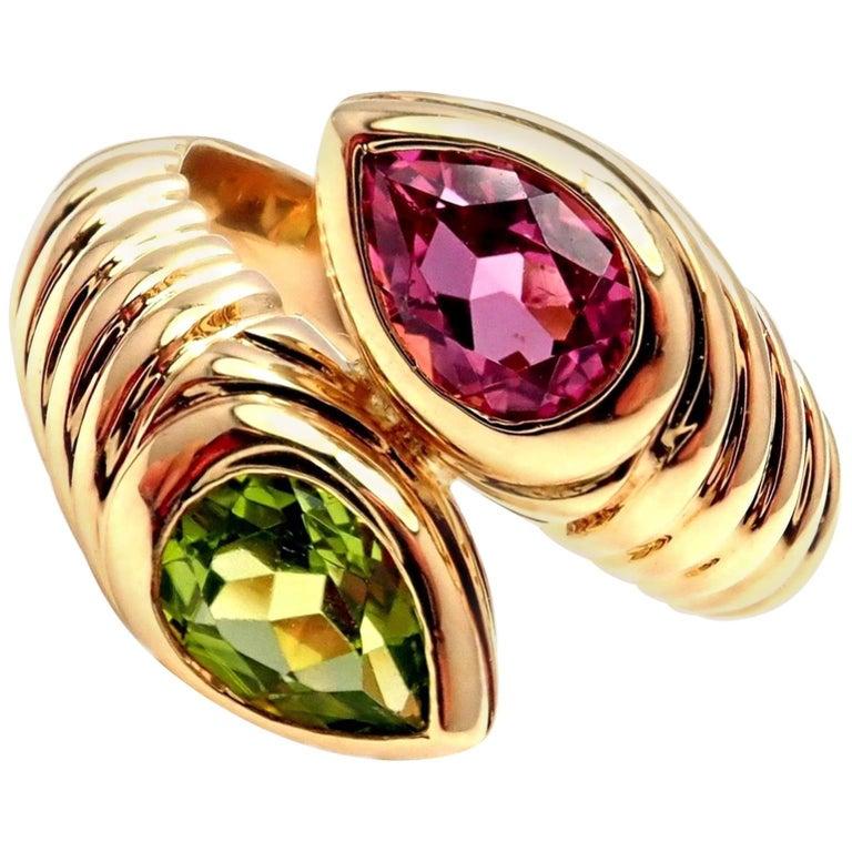 Bulgari Pink and Green Tourmaline Doppio Bypass Yellow Gold Band Ring
