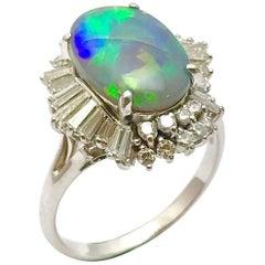 3.38 Carat Opal and Diamond Platinum Fashion Ring