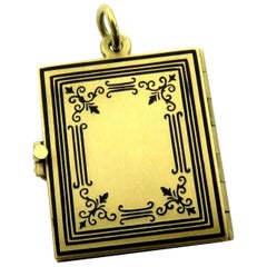 Superb Finely Enameled Three-Page Gold Book Locket Charm Pendant