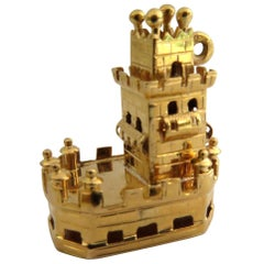 Incredible Tower of St Vincent Gold Travel Charm from Portugal