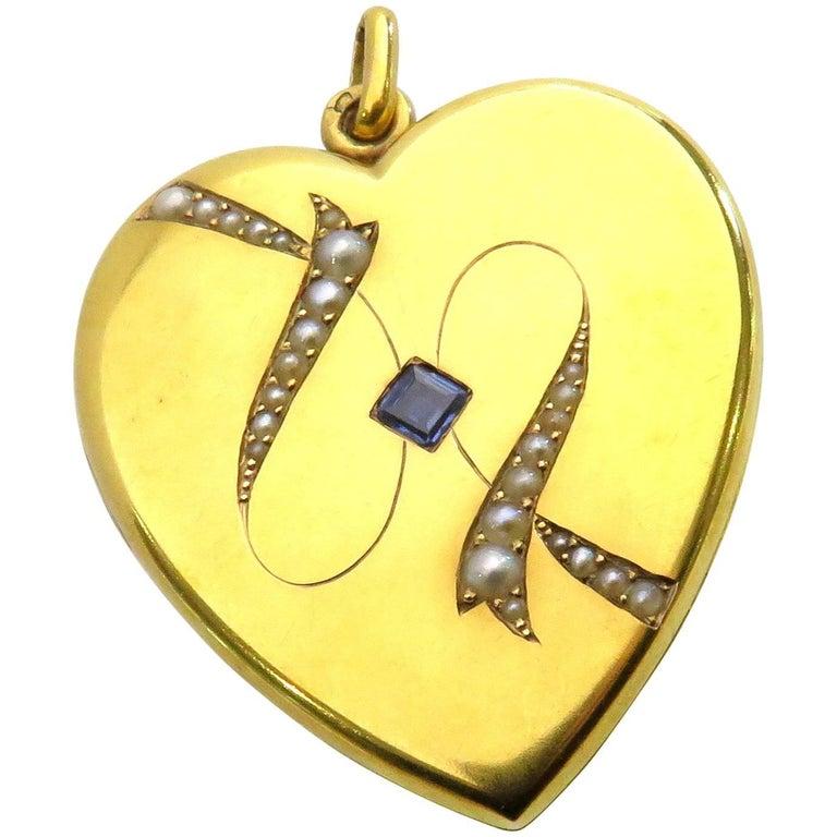 French Art Nouveau Natural Pearl Sapphire Large Gold Heart Locket Pendant Charm