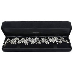 Tiffany & Co. Wide Platinum Floral Estate Bracelet