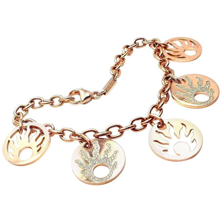 Chopard Happy Sun Diamond Five Charm Rose Gold Link Bracelet
