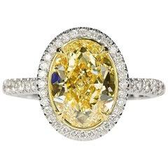 3.03 Oval Carat Canary Diamond in 18 Karat White Gold Ring