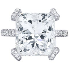 GIA Certified 10.02 Carat Princess Cut Diamond Ring