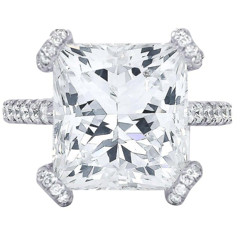 GIA Certified 10.02 Carat Princess Cut Diamond Ring For Sale