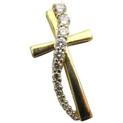 Diamond Cross Gold Pendant Charm