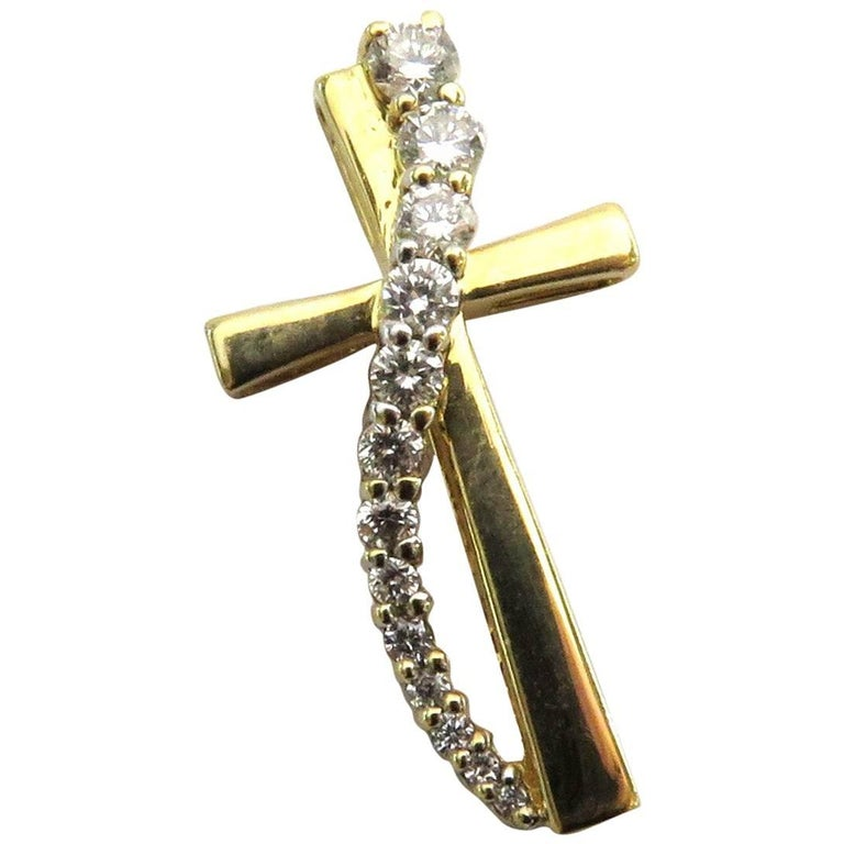 Diamond Cross Gold Pendant Charm