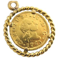 Framed Gold Coin Pendant Charm Dated 1763