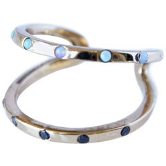 Black Diamond and Opal Love Ring