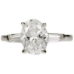 2.01 Carat Oval Cut Diamond in Platinum Ring
