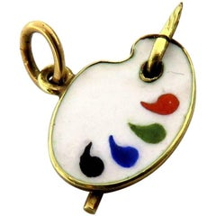 Art Deco Enamel Artist Pallet Small Charm or Pendant