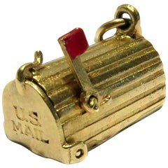 Rare U S Mailbox Opens and Movable Enamel Flag Gold Vintage Charm Pendant