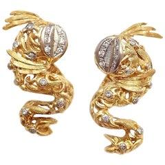 Ilias Lalaounis Greece Fish Diamond Yellow Gold Earrings