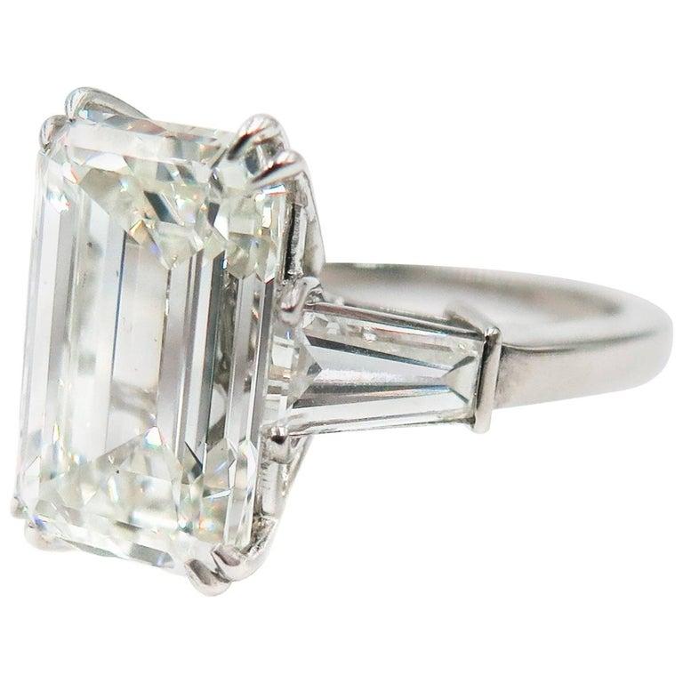 GIA Certified 5.72 Carat Emerald Cut Diamond Platinum Engagement Ring