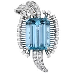Stunning Retro 1950s 23ct Aquamarine 1.55 G-H/VS Diamond Platinum Brooch /Pin