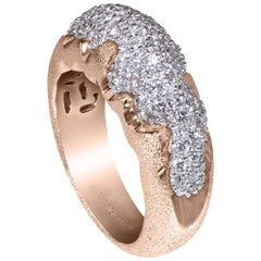 Alex Soldier Diamond Rose Gold Textured Ring Band One of a Kind