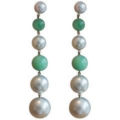 Handmade Platinum, Jadeite, Akoya and South Sea Pearl Drop Earrings