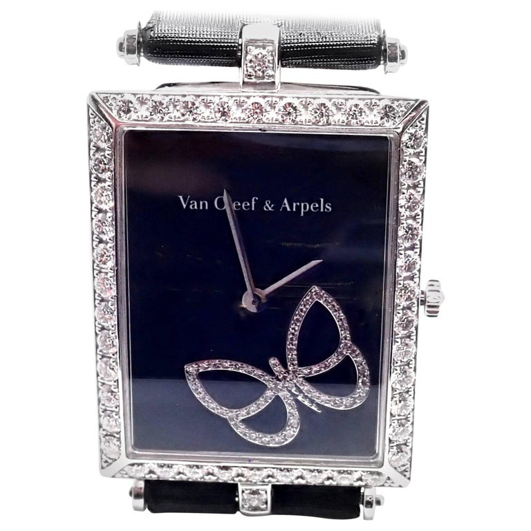 18k White Gold Diamond Limited Edition Papillon Butterfly Lady's Wristwatch by Van Cleef & Arpels.  This watch comes with VCA box and service paper from VCA store. This is a limited edition watch only 100 was made for 100 years Anniversary of Van