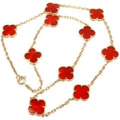 Van Cleef & Arpels Vintage Alhambra Carnelian Ten Motif Yellow Gold Necklace