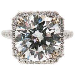 GIA Certified 5.01 Carat Round Diamond Engagement Ring